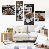 Modern 100% Hand Painted Chrysanthemum Oil Paintings Group 4 Panel Acrylic Abstract On Canvas Wall Art for Living Room Decor