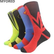 MYORED mens cartoon solid Elastic knee high cotton big size sox Professional towel bottom long men's crew summer winter socks