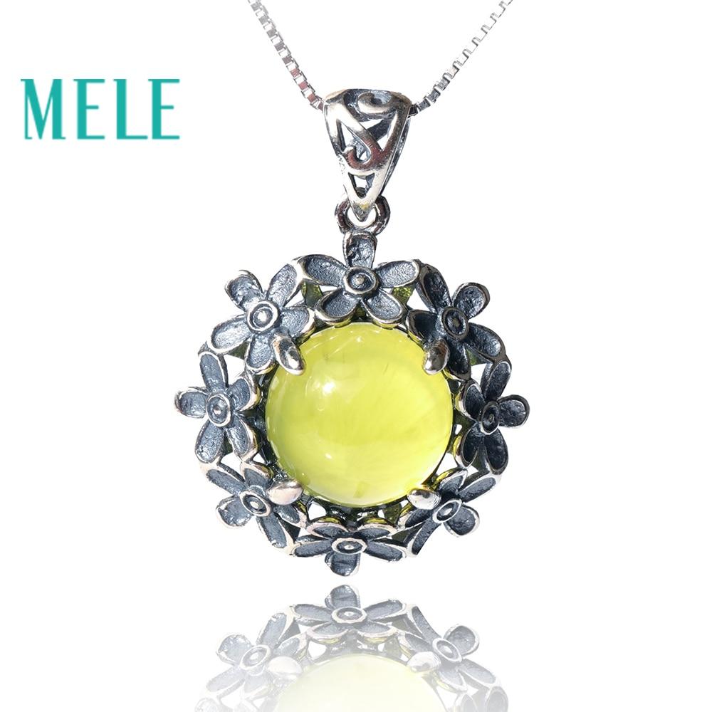 Naturel jaune prehnite argent 925 pendentif, 13mm 8.7ct round cut gemstone avec fleurs Vintage sculpture style fine jewelry