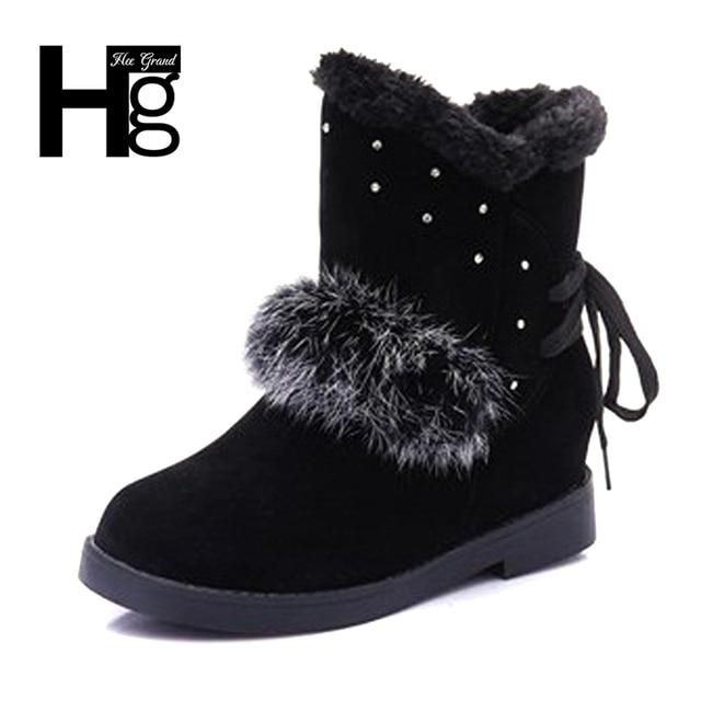 0f002f5ed HEE grande Modelo de Moda De Cristal Mulheres Inverno Botas Ankel Bota  Preta Sapatos Jovens Senhoras