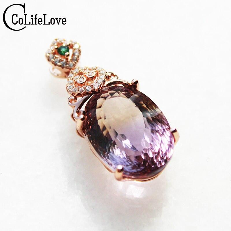 100% naturel énorme amétrine collier pendentif pour soirée 13mm * 18mm 13ct amétrine pierre gemme solide 925 argent gemmes pendentif