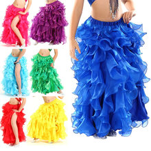 Fashion Kids/ Adults Belly Dance Costume Wave Skirt Dress with Slit Carnival Party Skirts H9