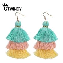 Colorful 3 Layered Tassel Earrings Bohemian Dangle Drop earrings Tiered Tassel Boho Fringed Fashion boucle d'oreille femme 2019