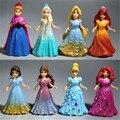 8 pçs/lote Princesa Elsa Anna Ariel Branca de Neve Cinderela Belle Aurora PVC Action Figure Set Boneca Brinquedos Crianças Brinquedos de Aniversário presente