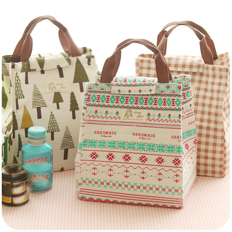 High quality Portable Women kids Fashion Fresh Insulated Canvas lunch Bag Lunchbox Storage Bag Thermal Food Picnic Lunch Pouch