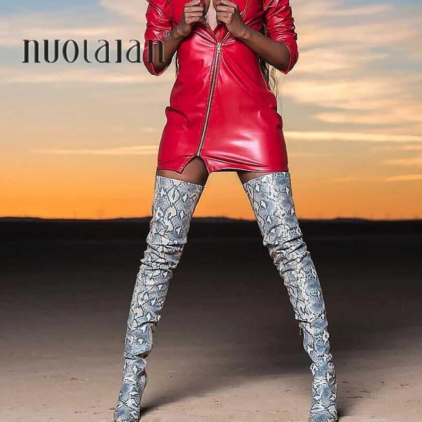 Uyluk Yüksek Çizmeler Seksi Kadınlar için Diz Çizmeler üzerinde Ayakkabı Snakeskin Sivri Burun 11CM Ince Yüksek Topuklu Uzun çizme Bottine Femme