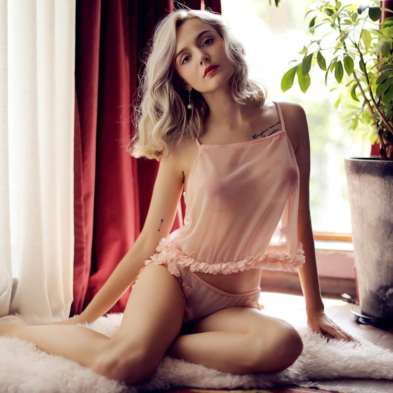 Summer Underwear Ladies Pajamas Set Temptation Sexy Flower Mesh Gauze Pajamas Pink Tops And Shorts For Women