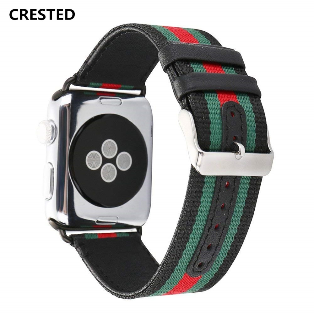 CRESTED Woven nylon leather strap For Apple Watch band 42mm/38mm iwatch series 3 2 1 wrist bands bracelet watchband belt 2018 crested crazy horse strap for apple watch band 42mm 38mm iwatch series 3 2 1 leather straps wrist bands watchband bracelet belt