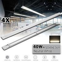4pcs 120cm LED Batten Linear Tube Light Ceiling Lamp Natural White 6000K 110V