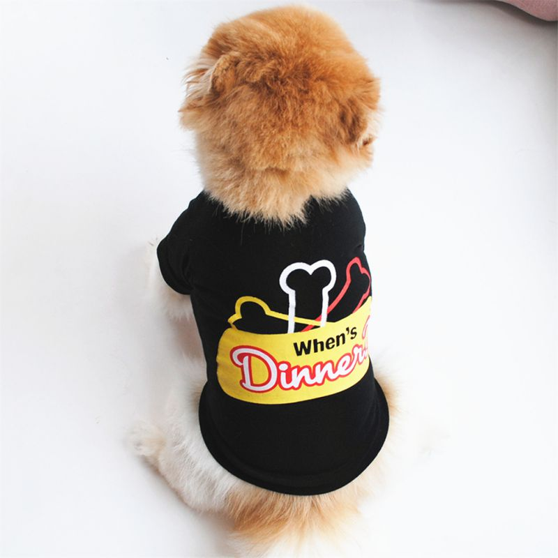 Clothes Pet Decors Spring Summer Pet Colorful Short Sleeves Cotton T-shirt Small Medium Bone Pattern Dog Shirt Puppy Supplies 1