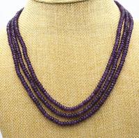 LiiJi Unique New Naturais 3 Linhas 2X4mm Facetada Purple Jade Beads Colar AAA 17-19''