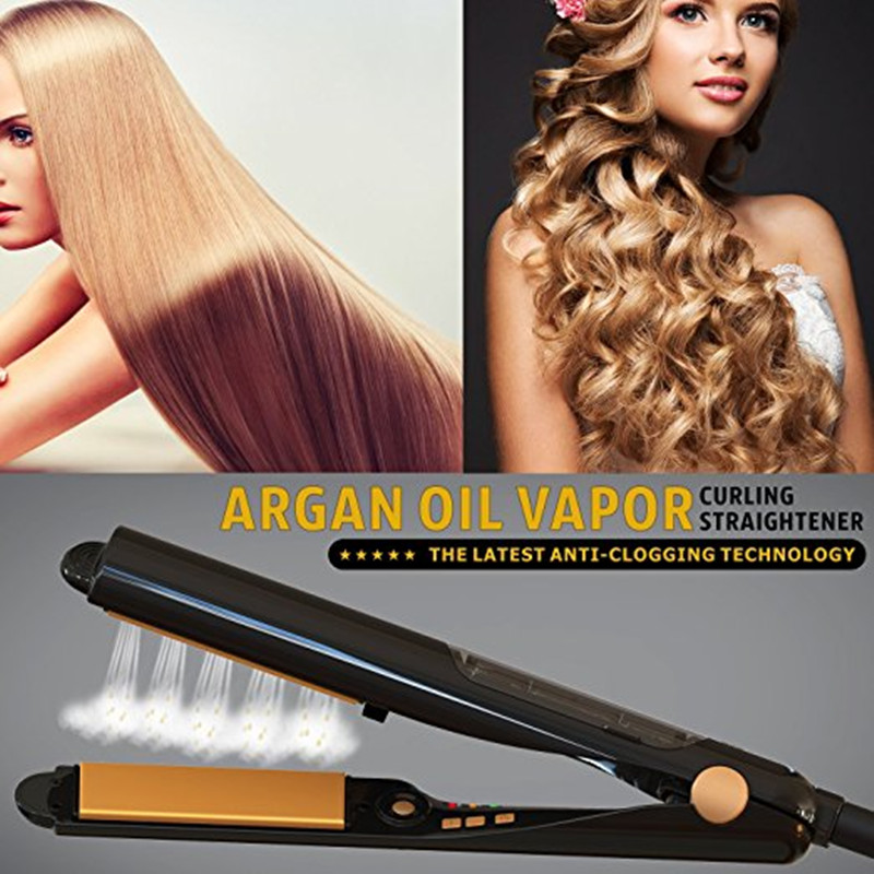 450F Ceramic Vapor 2 in 1 Steam Hair Straightener and Curler with Argan Oil Infusion Steam Flat Iron Ceramic Vapor Fast Heating 450f ceramic vapor steam hair straightener essential oil steam vapor flat iron professional steam hair straightener iron