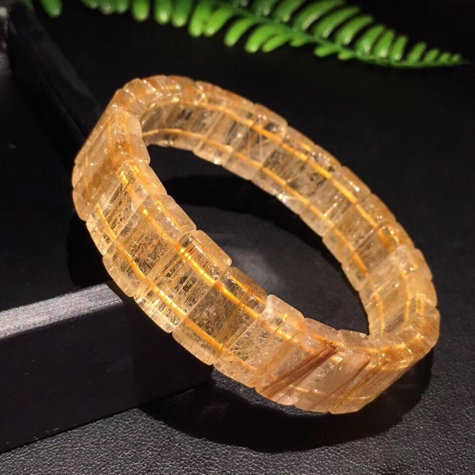 Genuine Natural Rutilated Titanium Quartz Bracelet Woman Man Brazil 14.1x7.8mm Beads Crystal Lucky Wealthy Stone Bangle JewelryGenuine Natural Rutilated Titanium Quartz Bracelet Woman Man Brazil 14.1x7.8mm Beads Crystal Lucky Wealthy Stone Bangle Jewelry