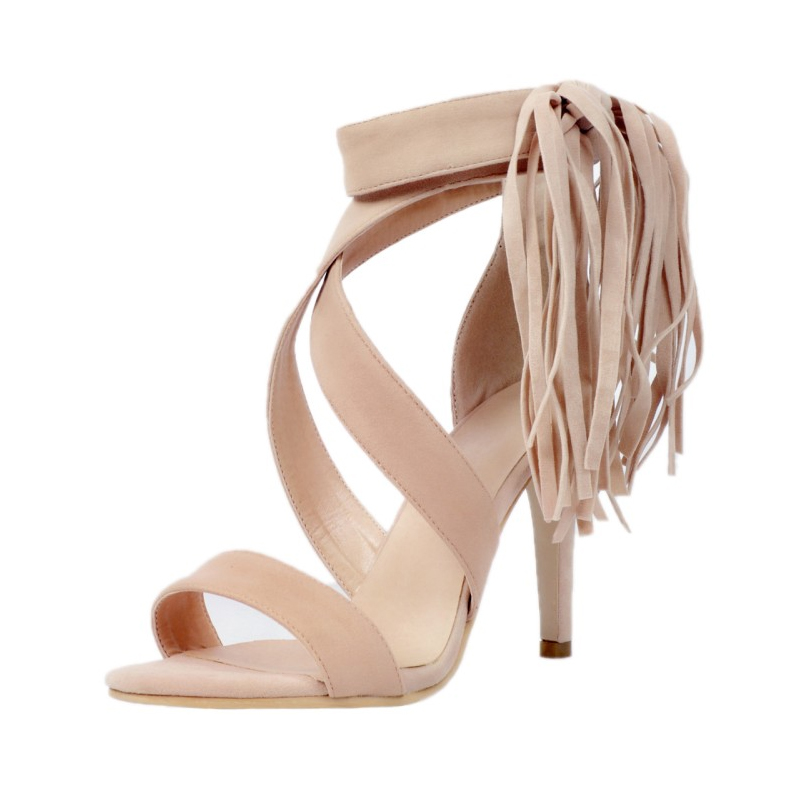 Sexy Fashion Elegant Fringe Flock High Heel Sandals Woman Summer European American Open Toe Normal Size Party Dress Shoes wholesale lttl new spring summer high heels shoes stiletto heel flock pointed toe sandals fashion ankle straps women party shoes