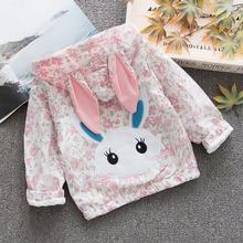 Rabbit Ear Windbreaker Baby Girl Zip Jacket Autumn Coats Kids Lovely Infant Outdoor Hooded Floral Print Coat Outerwear Fashion(China)