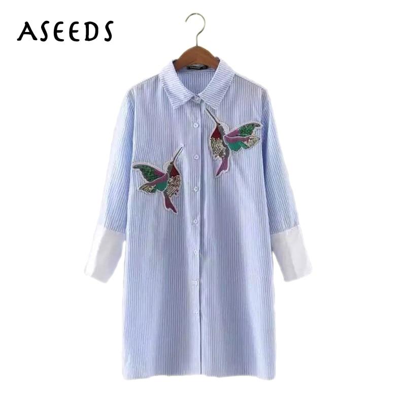 2017 Women Bird Embroidered Blouse fashion Long sleeve high quality white turn down collar Shirt women tops chemisier femme