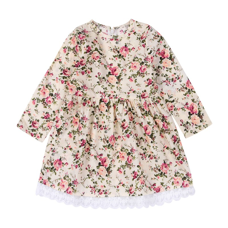 Newborns Summer Baby Girls Dress Long Sleeve Floral Printed Lace Party Mini Dresses Beach Dress flutter sleeve elastic waist floral dress