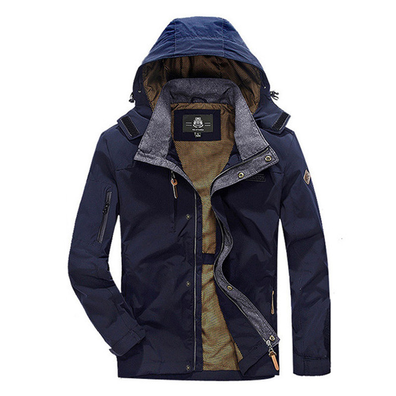 2019 Hiqh Quality New Men Casual Jacket Hood Detachable Outerwear Jacket Breathable Man Outwear Coat Size M-3XL