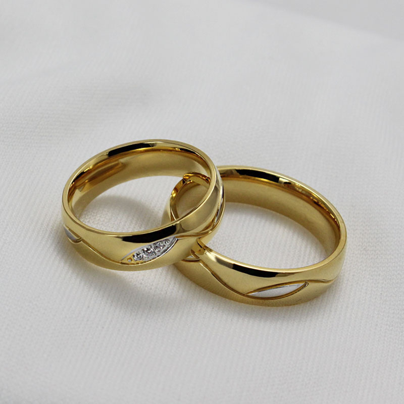 New fashion 6mm The Lord The Rings Gold crystal Tungsten Steel