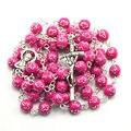Catholic rosary, 8 mm round acrylic bead, silver cross on bead, fashion rosary necklace