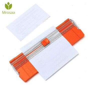 Mrosaa A4 precyzyjne nożyce do papieru do cięcia gilotyna z wysuwaną linijką do etykiet fotograficznych cięcie papieru kolor losowo
