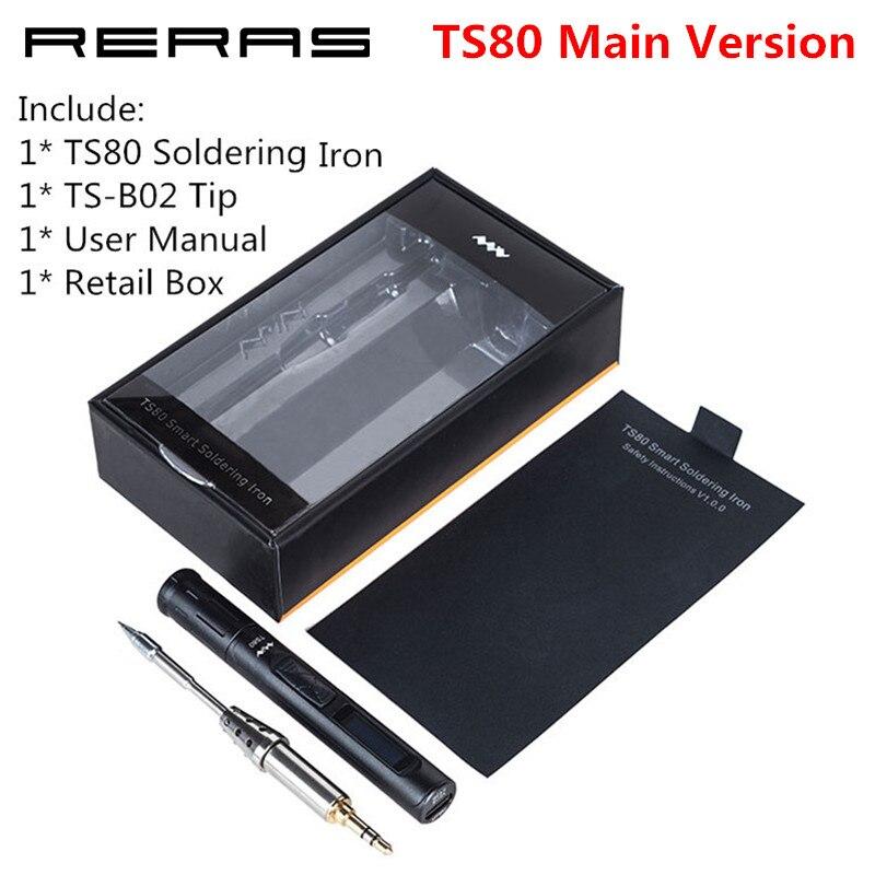 Main MINI TS80 Digital Soldering Iron Station QC3.0 USB Type-C OLED Programable Interface STM32 Chip TS-B02 Tips Set of Tools