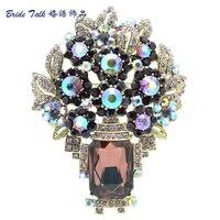 בציר מדהים סגנון סיכות ריינסטון קריסטל פרח סיכת סיכות מקדד הסגלגלה סגול עלה תכשיטי אופנה נשים 6411