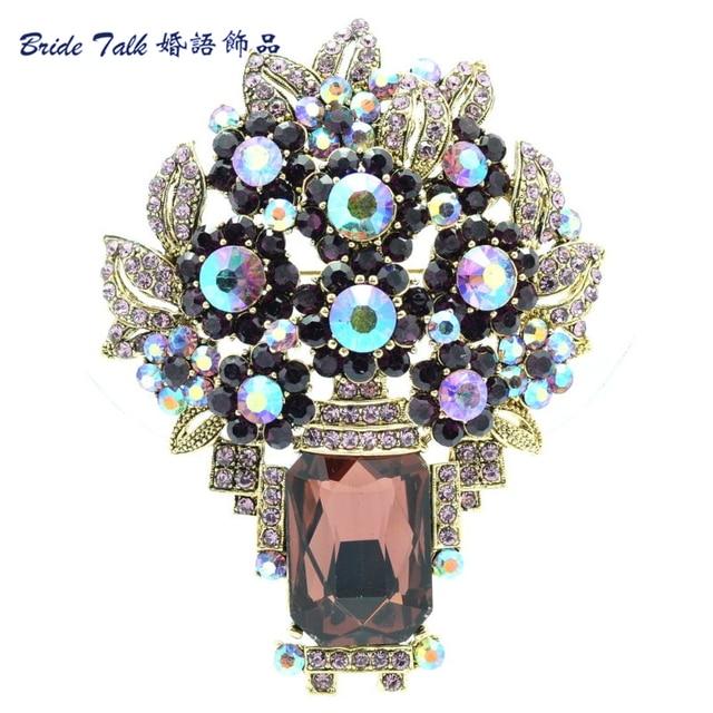 Estilo Vintage lindo Oblong Roxo Broches de Strass Broche De Flor de Cristal Pinos Broche Mulheres Folha Moda Jóias 6411