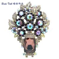 Gorgeous Vintage Style Oblong Purple Rhinestone Brooches Crystal Flower Brooch Pins Broach Leaf Women Fashion Jewelry 6411