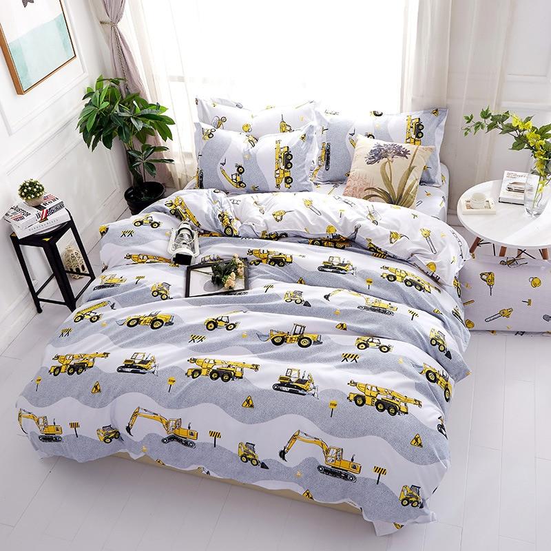 Cartoon excavator Polyester bedding sets Duvetcover Setwinter Flat bedsheet Pillowcase Queen king Bedlinen Bedclothes sj115