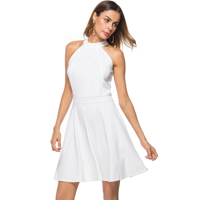 Women Sexy Off Shoulder Skater Dress Elegant Halter Neck Sleeveless White  Black A-Line Short Nightclub Cocktail Party Dresses 123fe694a9