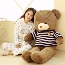 big plush round eyes blue and white stripes sweater teddy bear toy huge bear doll gift about 140cm