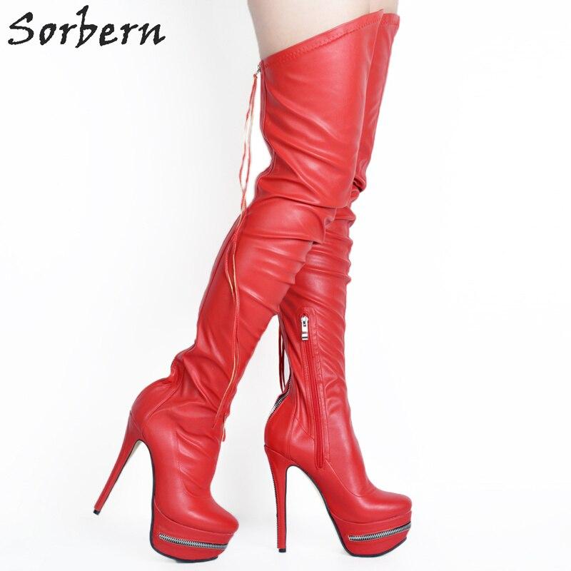 Alta Altas blanco Tinto Para rojo Moda Rojo Tamaño Delgados Zapatos Nueva Negro vino Tacones Mujer Bota Botas Muslo 2018 Colors Del custom Plus De Invierno Señoras Parte EqxwxC8