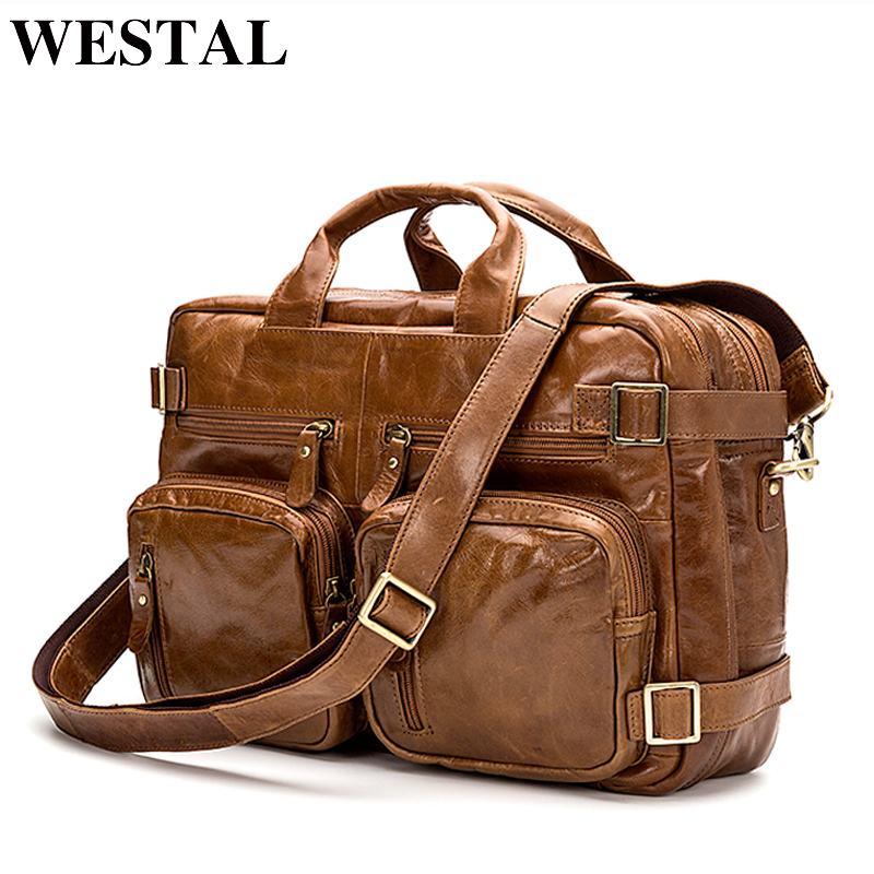WESTAL Leather Laptop Bag Genuine Leather Shoulder Bag Male Large Capacity Briefcases Crossbody Bags for Men Messenger Bags 341 augus 100% genuine leather laptop bag fashional and classic crossbody bags leather for men large capacity leather bag 7185a