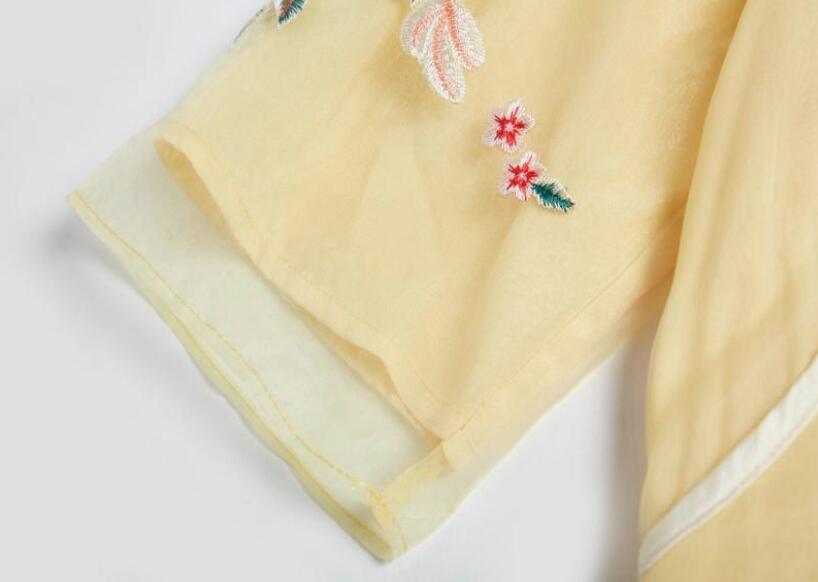 Zomer De Nieuwe Chinese Ruyi garen borduurwerk cheongsam jurk geel Zeven kwart mouw elegante mode Losse jurk S 2XL - 5