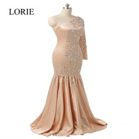 Crystals Mermaid Evening Dresses Abendkleider 2017 Vestido Noche One Shoulder Long Sleeve Prom Dresses Formal Party Gowns