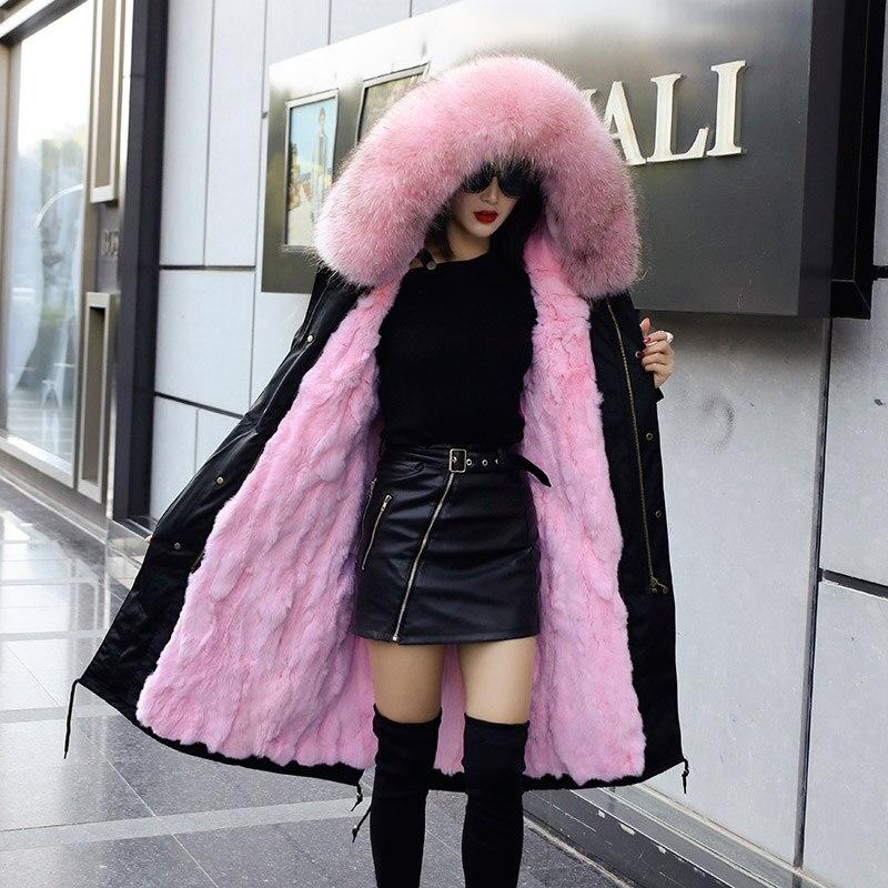 2019 inverno pele de raposa longo parkas mulheres rosa natural pele com capuz casaco coelho forro quente parkas senhoras - 6