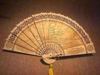 Sculptures of cypress, 22cm fans, multi style handcrafts of wood crafts with cedar fans
