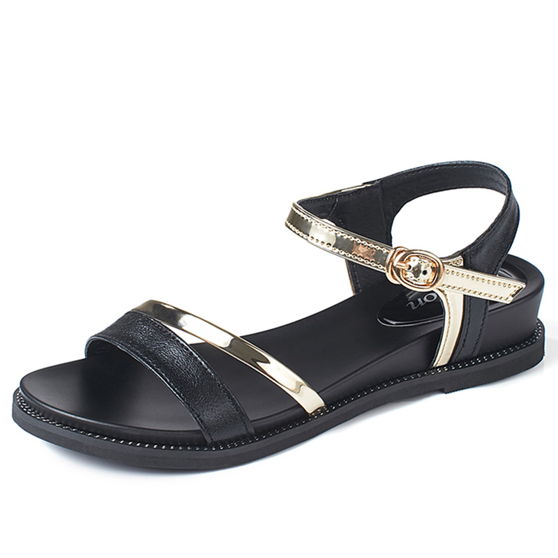 2a0b8929a kilobili 2018 Summer women sandals black gold flat Sandals women flat  rubber Sandalias ladies flat low heel gladiator sandals