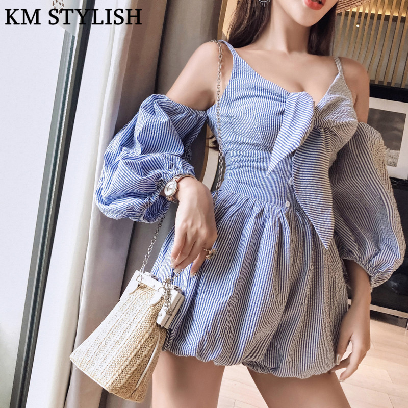 [NEW SALE] Summer Thai Striped Women Fashion Sexy Low V-neck Strapless Playsuits Lantern Sleeve Casual Pants Shorts Jumpsuits