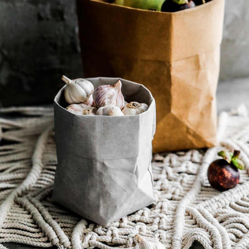 Danxdeco современный Лофт, промышленные белый серый коричневый пакет из крафт-бумаги многофункциональная ткань игрушки цветочный горшок сумка для домашнего офиса повторное использование мешок