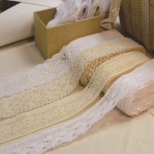 30 yard Diy  Handmade Patchwork Cotton Material Cotton Lace Ribbon Beige Color Cotton Lace TRIM crochet lace