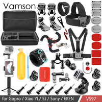 Vamson Action Camera Accessories Kit Set for yi 4 K for Gopro hero7 6 4 5 Chest Clamp Hand Mount Large Bag VS97