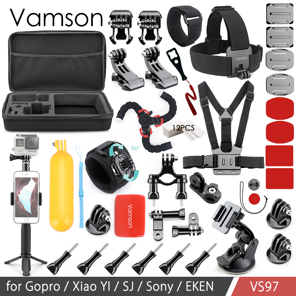 Vamson Camera Action Accessoires Kit Ensemble pour yi 4 k pour Gopro hero7 6 4 5 Poitrine Pince Main Montage grand Sac VS97