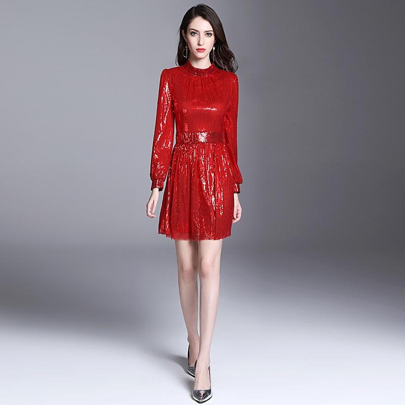 Robe courte De Haute Qualité 2018 Été Nouvelle Mode Des Femmes Fête Vacances Sexy Vintage Elégant Chic Rouge À Manches Longues Robes De Paillettes