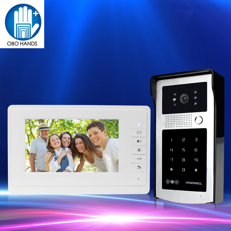 Hands Free 7inch Color Video Doorbell Intercom System one Indoor Monitor Unit+one Outdoor Camera Unit with 125KHz RFID Keychain 7 inch video doorbell tft lcd hd screen wired video doorphone for villa one monitor with one metal outdoor unit rfid card panel