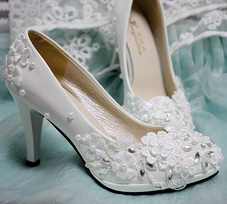 plus size 8cm high heels wedding shoes ivory womens handmade lace pearls tg330 rhinestones bridal shoes