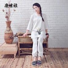 Yoga Clothing Set Cotton Linen Zen Meditation Shirt Pants Buddhism Suit Tea Dress Exercise Clothing Chinese Style Sportswear