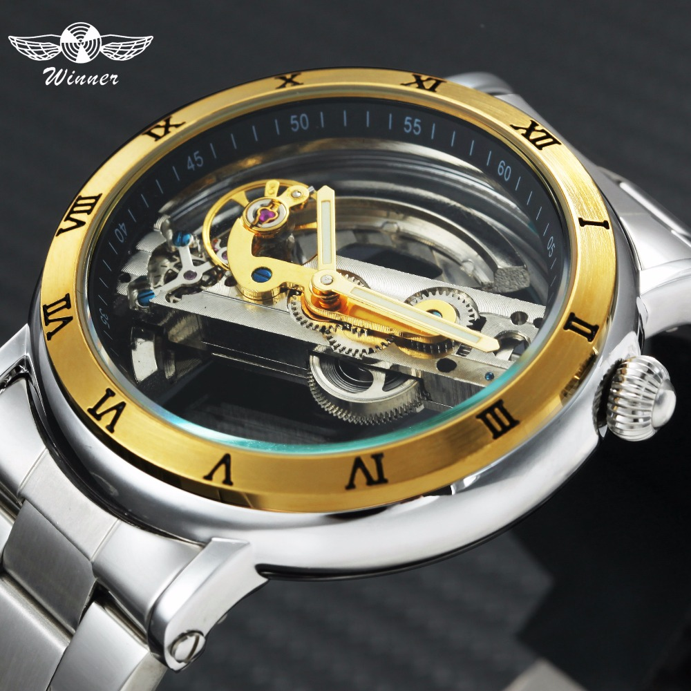 WINNER Auto Mechanical Golden Bridge Watch Men Roman Number Index Stainless Steel Strap Mens Watches Top Brand Luxury relogio winner dress classic men automatic mechanical watch stainless steel strap blue roman number transparent case design wrist watch