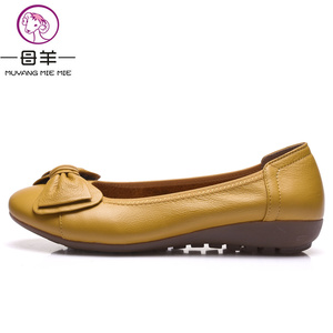 Image 5 - Plus Size(34 43) Women Shoes Genuine Leather Flat Shoes Woman Maternity Casual Work Shoes 2019 Fashion Loafers Women Flats